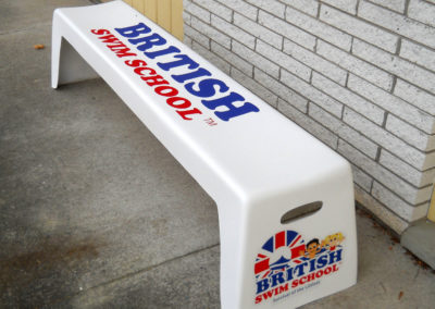 Easy Stack Bench in White with Full-Color Logo
