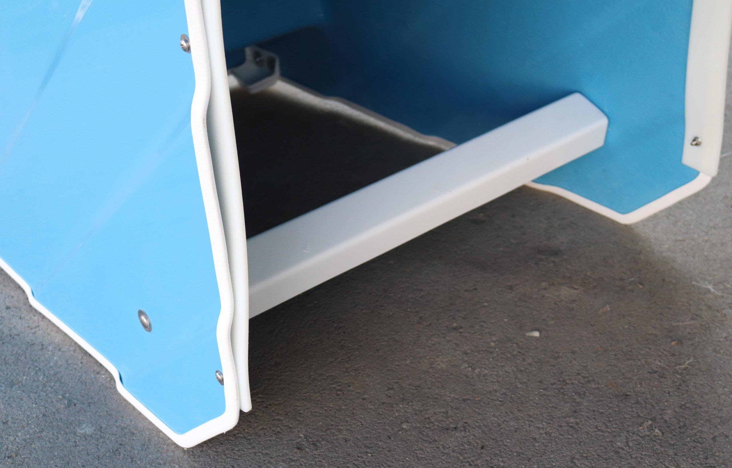 Close-up of vinyl trim for ADA Pool Stair