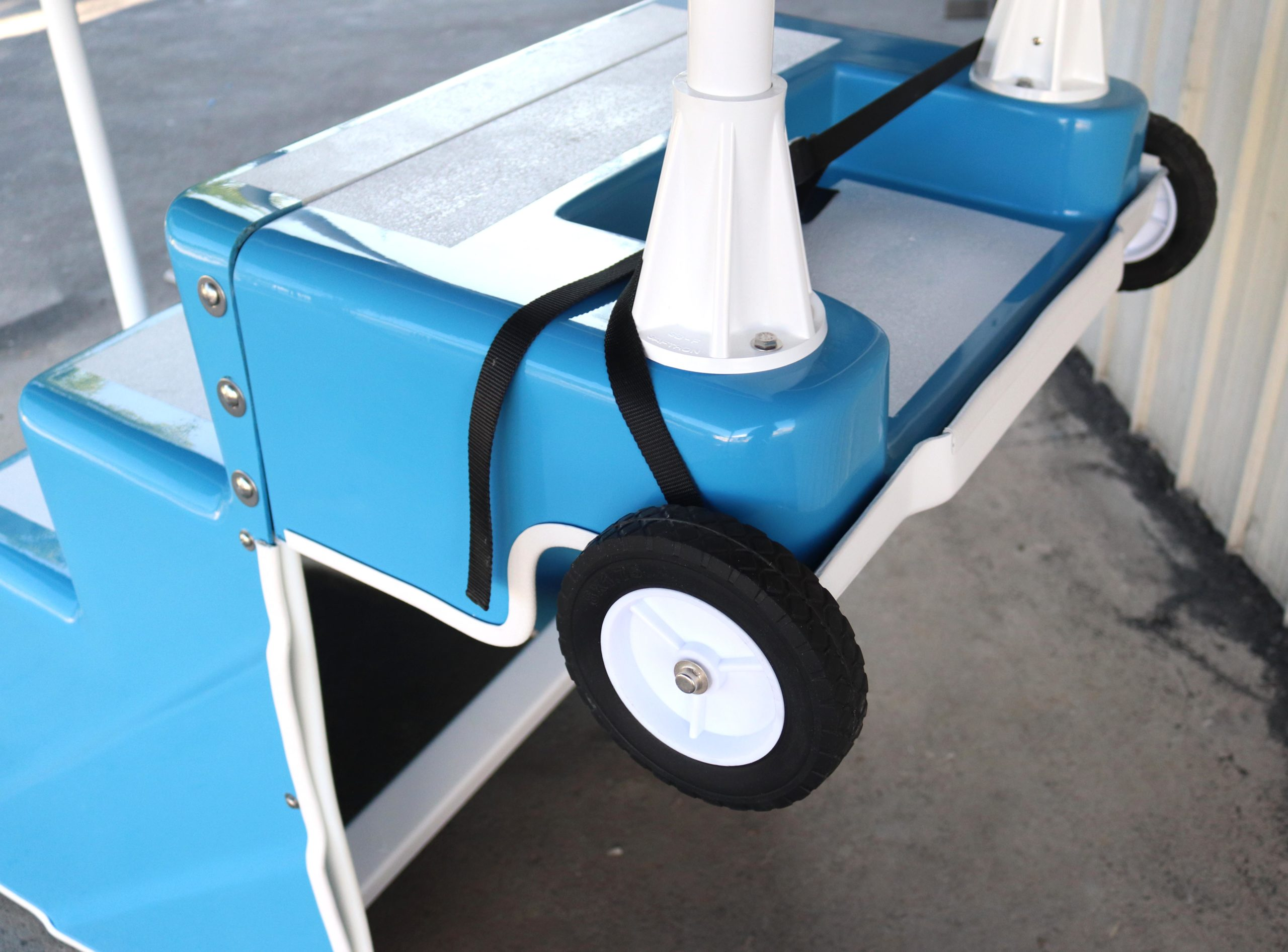 Wheeled dolly attached to ADA Pool Stair