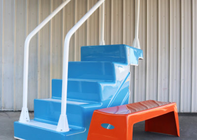 ADA Pool Stairs and 4' Easy Stack Bench in Orange