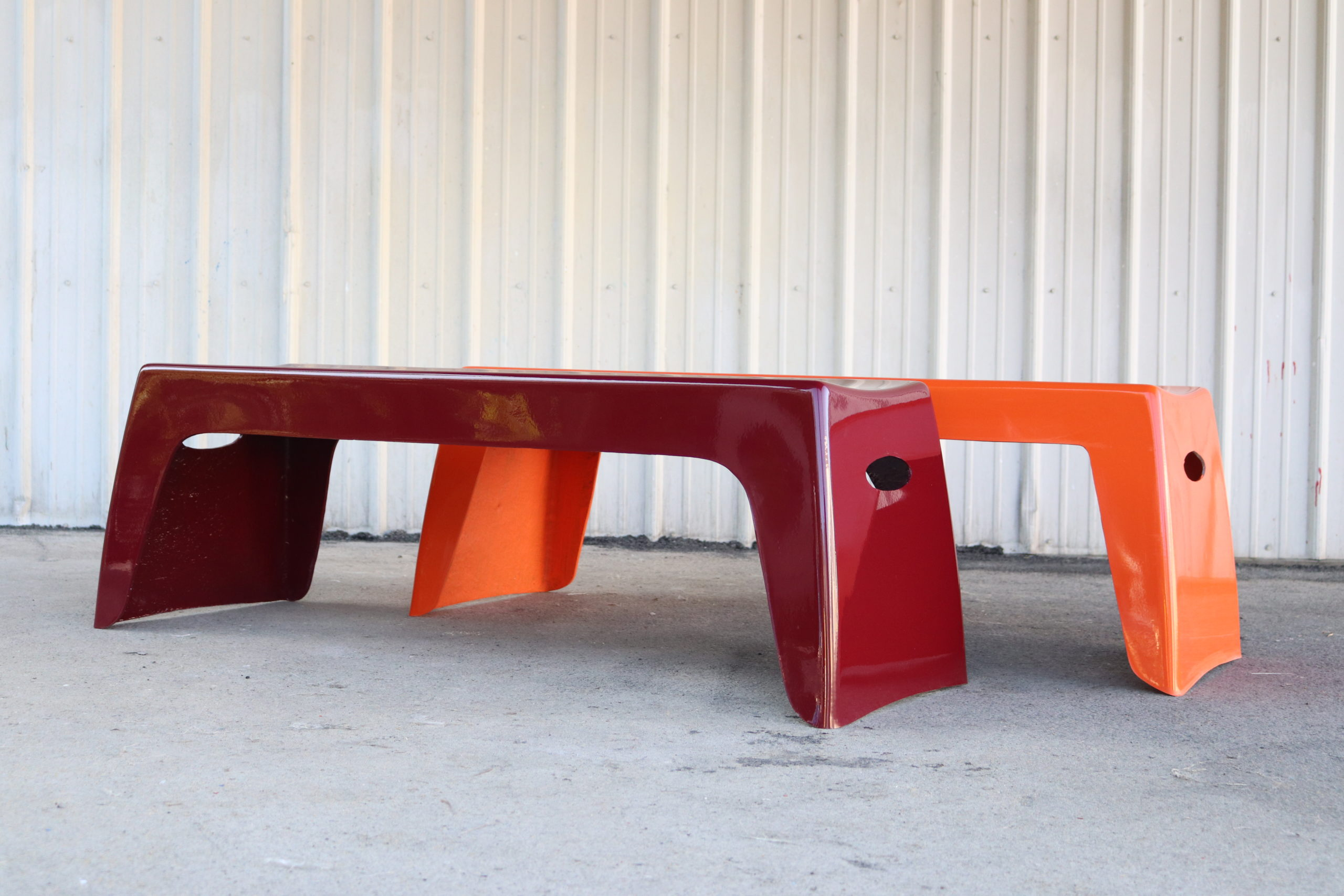 Two 4' benches sit side-by-side