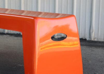 Closeup view of Orange Bench Handle