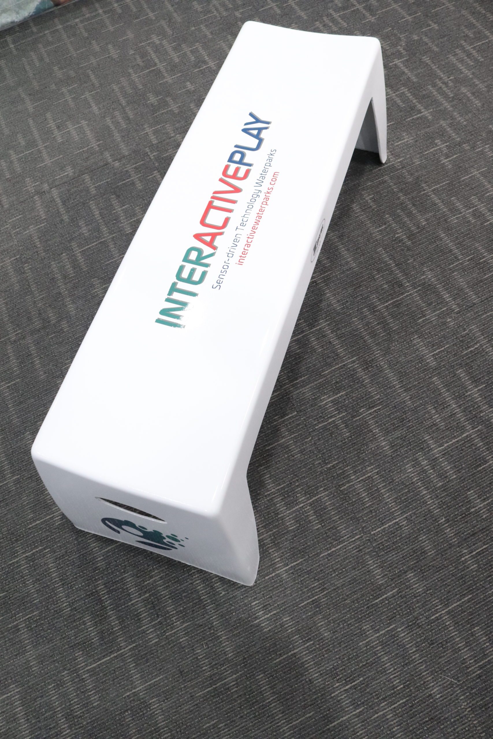 Full View of Easy Stack Bench in White with Full-Color Logo